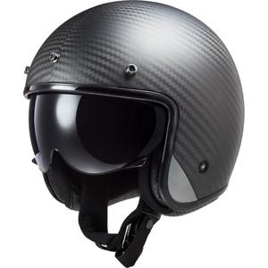 LS2 OF601 BOB Open Face Motorcycle Motorbike Matt Carbon Fiber Jet Helmet