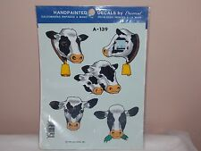 Vintage 1996 Decoral Handpainted Waterslide Decals Cows A-139 New Old Stock