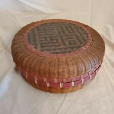 ANTIQUE**CHINESE Sewing Basket painted red rims with lid