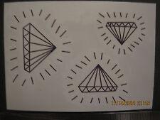 """Temporary tattoo Diamond shapes Black x3 sheets 2""""X2 1/2"""""""