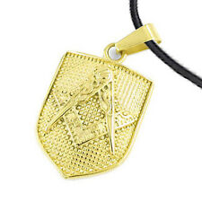 Masonic Pendant - Gold Plated  Steel Mason Shield Necklace for Freemasons
