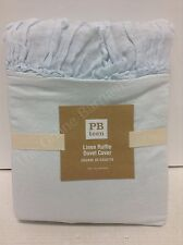Pottery Barn Teen Linen Ruffle Duvet Cover Pale Blue Twin Vintage Bedding Ruched
