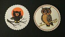 Vintage *Unused* Halloween Paper Coasters: Cute Owls Sitting On A Branch