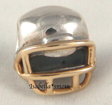 FOOTBALL HELMET Genuine PANDORA 2 TONE Silver/14K GOLD Sport NFL Charm~Bead NEW