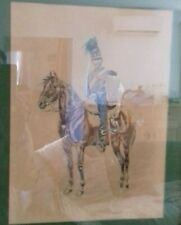 Tableau ancien . 2  Aquarelles gouachées  1898 ,cavaliers militaires -signé