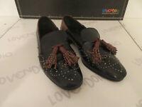 Chaussures Femme Marron Noir Basses Clouté N°37 Cuir Et Semelle en Cuir