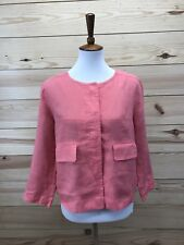 Zyga Lin'n Laundry Womens Jacket Sz Large Pink Linen Button Front 3/4 Sleeve B69
