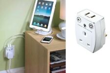 Masterplug USB Charger Power Surge Protected Mains Socket Adaptor Polished White
