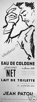 PUBLICITÉ 1959 JEAN PATOU MONSIEUR NET CHALEUR ? EAU DE COLOGNE EN FLACON BILLE