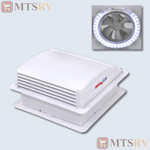 Maxxair Mini Vent Deluxe 12V Powered Fan Vent with LED Light in WHITE - 00-03801