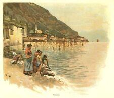 Gargnano, GARDA-SEE, Lago di Garda, ITALIA, ORIGINALE-farbholzstich circa 1890