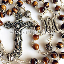 Bali 925 Sterling Silver Beads 6MM Tiger Eye Rosary Cross catholic necklace Box