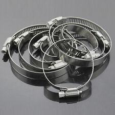 "10Pcs 3/8""-1/2"" Adjustable Stainless Steel Drive Hose Clamps Fuel Line Clip Set"