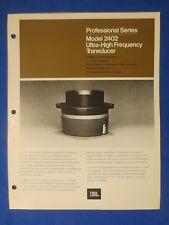JBL 2402 Pro Ultra High Frequency Transducer Brochure Catalog Original