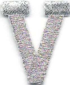 """1 """" Grand Métallique Argent Monogramme Bloc Lettre V Broderie Patch"""