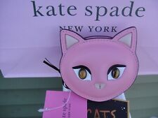 New with Tag Kate Spade  Small Meow Cat Pink Coin Pouch /  Leather Purse