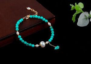 D12 Ventre Doré Bracelet Turquoise Et Perles D'Eau Douce Blanc
