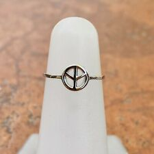 Ring with Peace Sign New Adjustable Sterling Silver Solid Polished Thin Band Toe