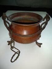Chaudron sur pieds 12cm cuivre et fer forgé avec hanses