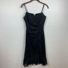 Taboo womens medium black dress floral glittery ruffle detail thin straps