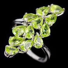 Sterling Silver 925 Genuine Natural Apple Green Peridot Spray Ring Sz R1/2 US 9