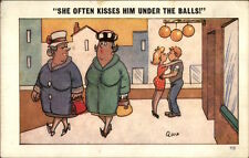 Sexual Innuendo - Couple Kissing Under Balls Comic Postcard