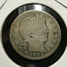 1892 BARBER SILVER QUARTER DOLLAR COIN