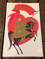 Vintage Valentine Card Love Missing You Knight on Horse Hearts Just Say Hello