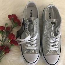 Chuck Taylor Converse Sneakers Shoes Silver Sparkle Low Womens 13 Mens 11 M