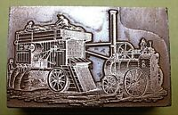 """OLD """"COMBINED HARVESTER"""" PRINTING BLOCK."""