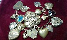 KINESTONE N.Y romantico bracciale cuori charms 1 locket color oro brunito
