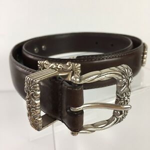 Fossil Brand Sz S Brown Leather Concho Style Western Scrollwork Belt K2