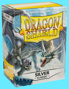 100 DRAGON SHIELD CLASSIC Standard Size SILVER Card Sleeves deck protector mtg