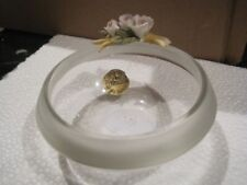 Lead crystal small round bowl with flowers deco - Italian made