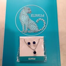 GENUINE EFFY Jewelry Set Sapphire Blue Necklace Pendant and Stud Earrings