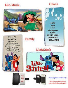 Lilo and Stitch Ohana Family leather wallet phone case for iPhone HTC