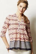 HD IN PARIS Anthropologie Kaveri Henley Pin Tucked Popover Blouse NWOT Top Sz 6