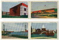 POSTCARDS 1933 CHICAGO WORLDS FAIR LINEN POSTCARD LOT of 4