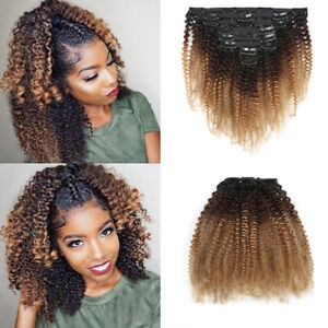8pcs Clip in Mongolian Afro Kinky Curly Hair Weft 100% Human Hair Extension 120g