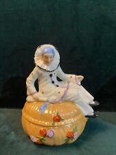 Boîte à poudre, Pierrot  Sitzendorf Thuringe Half Doll Art déco