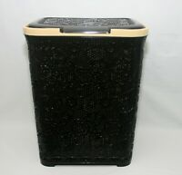 55L Large Rattan Plastic Laundry Bin Washing Bin Multi Storage Basket Dark Brown
