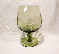 """Vintage Green Glass Brandy Snifter Twisted Stem Cocktail Footed 6"""" Tall"""