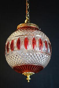 original 1950s mid-century gilt brass & cranberry cut glass Globe pendant light