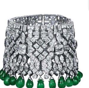 925 Sterling Silver Bracelet Cz green pearl drop cluster wedding party - Royale`