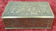 BOÎTE À BIJOUX. BRONZE CISELE. SCÈNES DE BATAILLE ÉGYPTIENNE. XIX-XX SIECLE.