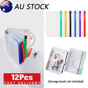 A6 PU Leather Binder Cover Pockets Loose Bags Cash Envelope Planner Notebook X12