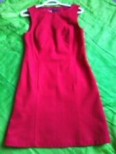 Dress, sleeveless, wool, red, with linning, S