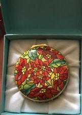 Halcyon Days Enamel Box Poinsettias Designed By Tiffany & Co. Rare