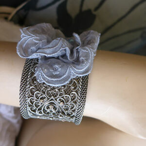 HANDMADE STATEMENT  METAL BRACELATE LACE FLOWER AND BEADS EMBRODERY SPECIAL GIFT