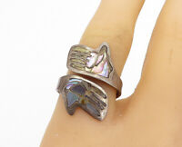 925 Sterling Silver - Vintage Abalone Shell Hands Bypass Ring Sz 7.5 - R17034